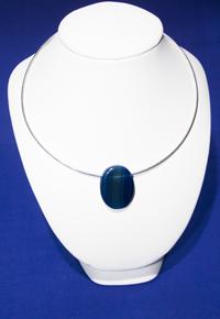 Girocollo Agata blu ovale - Bilancia, Gemelli