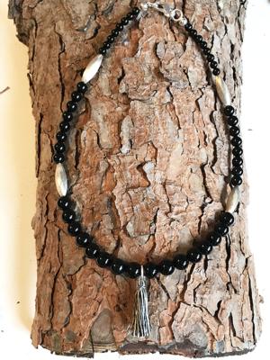 Collana in onice con distanziali e chiusura in argento 925