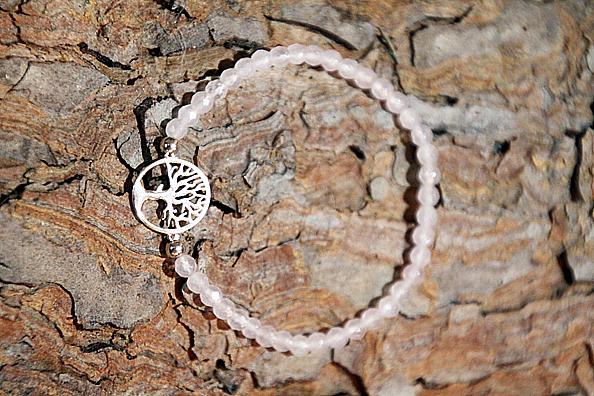 Bracciale Quarzo rosa con albero della vita argento