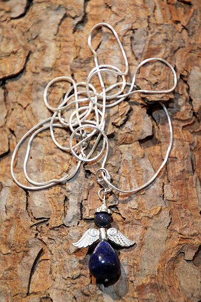 Ciondolo angelo Lapislazzuli collana 90cm argento
