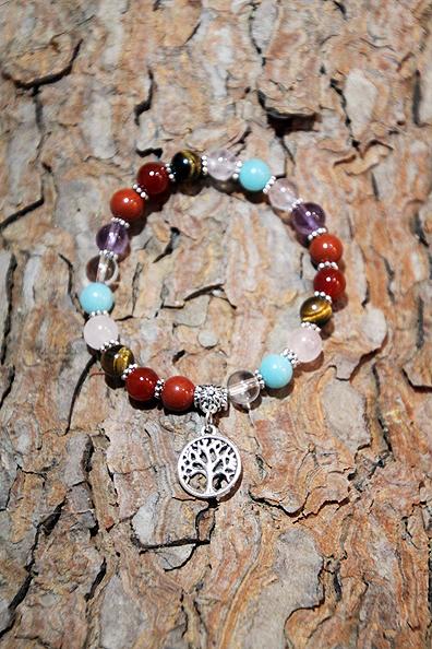 Bracciale 7 Chakra con albero della vita in metallo