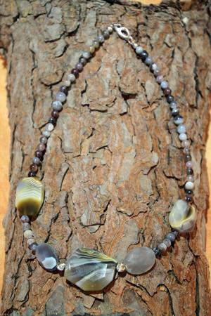 Collana Agata botwana chiusura e distanziali in argento 925