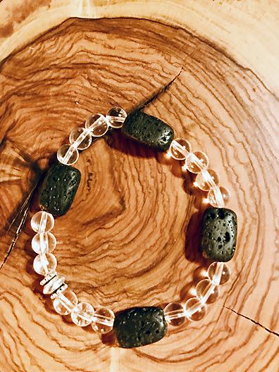 Braccialetto cristallo di rocca e pietre laviche per oli essenziali
