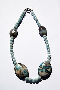 Collana Acqua marina agata con chiusura in argento 925