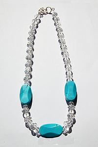 Collana Magnesite blu Cristallo di rocca con chiusura in argento 925