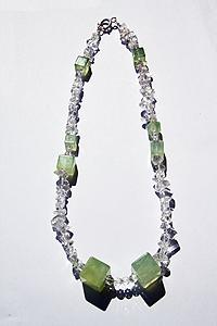 Collana Prehnite cristallo di rocca con chiusura in argento 925