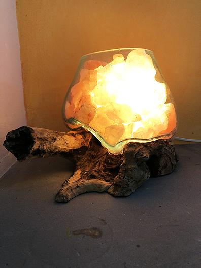 Lampada sale vetro legno 2